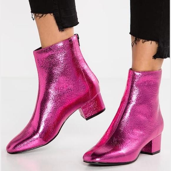 Topshop Shoes   Topshop Pink Metallic
